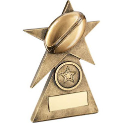 Brz/Gold Rugby Star On Pyramid Base Trophy - (1In Centre) - 4In