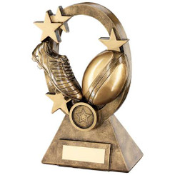 Brz/Gold Rugby Oval/Stars Series Trophy - (1In Centre) 7.25In