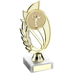 Gold/Silver Plastic Holder On Marble Trophy - (2In Centre) 9In