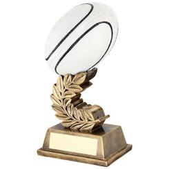 Brz/Gold/Blk/White Rugby Ball On Laurel Leaf Trophy - 6.75In