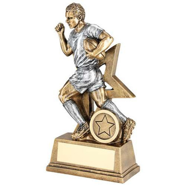 Brz/Pew Male Rugby Figure With Star Backing Trophy (1In Centre) - 7In