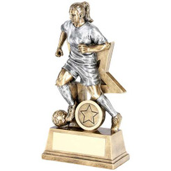 BRZ/GOLD RUGBY GEO FIGURE TROPHY - (1in CENTRE) 6.75in