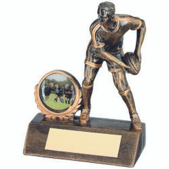 Brz/Gold Resin Mini Male Rugby Trophy - (1In Centre) 4.25In