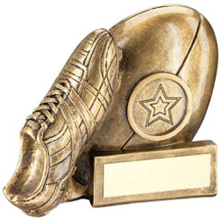 BRZ/GOLD RESIN RUGBY TROPHY - (1in CENTRE) 3.25in