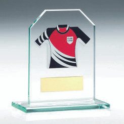 Jade Glass Plaque With Rugby Shirt Trophy -    (Shirt B) - 4.5In