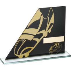 Black/Gold Printed Glass Plaque With Rugby Boot/Ball Trophy - 6.5In