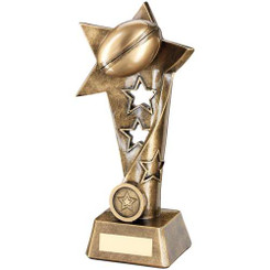Brz/Gold Rugby Twisted Star Column Trophy -  (1In Centre) 9In
