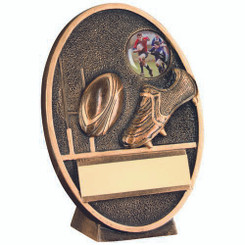 Brz/Gold Rugby Ball And Boot Oval Plaque Trophy - (1In Centre) 5In