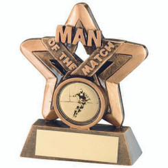 Brz/Gold Man Of The Match Mini Star With Rugby Insert Trophy - 3.75In