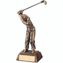 Brz/Gold Resin Male 'Back Swing' Golf Trophy - 8.25In