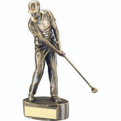 Brz/Gold Male 'Mid Swing' Golfer Trophy - 7.75In