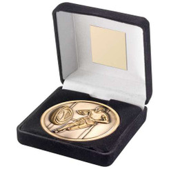 BLUE VELVET BOX AND 70mm MEDALLION RUGBY TROPHY - ANTIQUE GOLD 4in