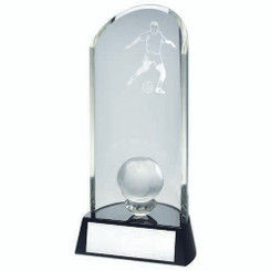 Clear Glass Football Lasered Curve Column And Ball On Black Base Trophy - 8.25In