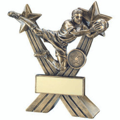 Brz/Gold Goalkeeper Figure On Crossed Stars Trophy - (1In Centre) 7In