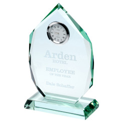 Jade Glass Diamond Plaque With Clock - 6.5In