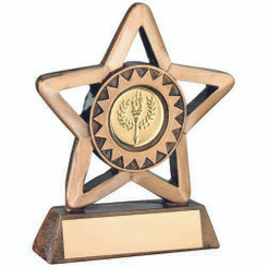 Brz/Gold Resin Generic Mini Star Trophy - (1In Centre) 4.25In