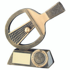 Brz/Gold Table Tennis Bat/Net/Ball Trophy - (1In Centre) 6In