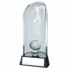 Clear Glass Golf Lasered Curve Column And Ball On Black Base Trophy - 9In