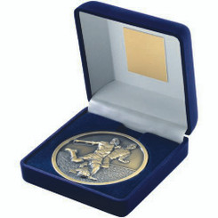 Blue Velvet Box And 70Mm Medallion Football Trophy - Antique Gold 4In
