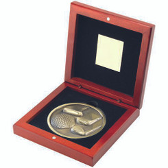 Rosewood Box And 70Mm Medallion Golf Trophy - Antique Gold 4.5In