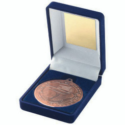 Blue Velvet Box And 50Mm Medal Football Trophy - Bronze 3.5In