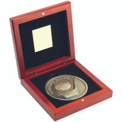 Rosewood Box And 70Mm Medallion Golf Trophy - Antique Gold Longest Drive 4.5In