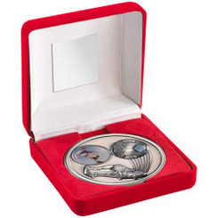 """Red Velvet Box And 70Mm Medallion Football Trophy - Antique Silv (1In Centre) 4"""""""
