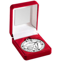 Red Velvet Box And 50Mm Medal Golf Trophy - Silver 3.5In