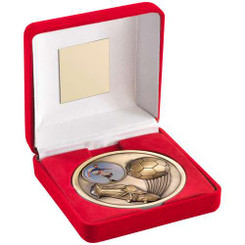 Red Velvet Box And 70Mm Medallion Football Trophy - Antique Gold (1In Centre) 4""