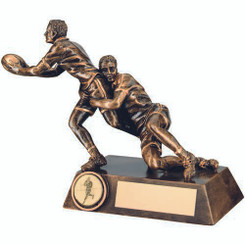 Brz/Gold Double Rugby 'Tackle' Figure Trophy - (1In Centre) 7.75In