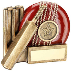 BRZ/GOLD CRICKET BATSMAN GEO FIGURE TROPHY - (1in CENTRE) 7in