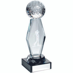 Clear Glass Lasered Golf Column On Black Base Trophy - 7.25In