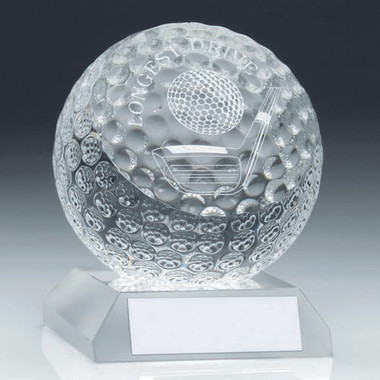 Clear Glass Golf Ball Trophy - Longest Drive  3.75In