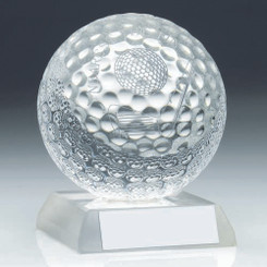Clear Glass Golf Ball Trophy - Nearest The Pin 3.75In