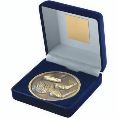 Blue Velvet Box And 70Mm Medallion Golf Trophy - Antique Gold 4In