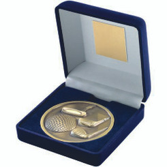 Blue Velvet Box And 70Mm Medallion Golf Trophy - Antique Gold 4In