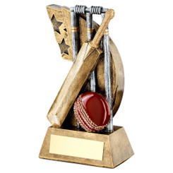 BRZ/GOLD CRICKET BOWLER 'QUARTZ' FIGURE TROPHY - (1in CENTRE) 7in