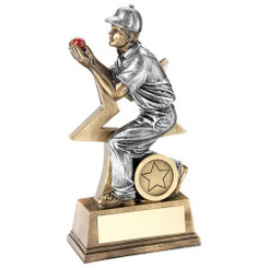 BRZ/GOLD/RED RESIN CRICKET 'HERO' TROPHY - 6.5in