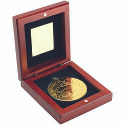 Rosewood Box And 50Mm Medal Golf Trophy - Gold 3.75In