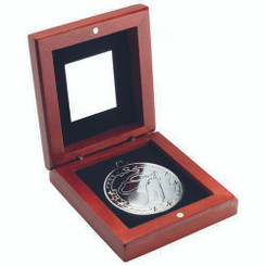 Rosewood Box And 50Mm Medal Golf Trophy - Silver 3.75In