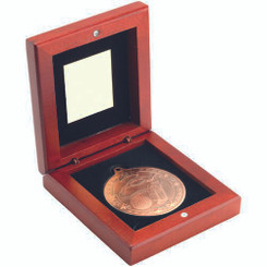 Rosewood Box And 50Mm Medal Golf Trophy - Bronze 3.75In