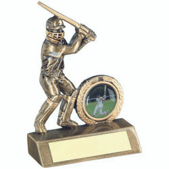 Brz/Gold Mini Cricket Batsman Trophy - (1In Centre) 4In