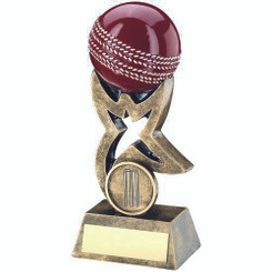 Brz/Gold/Red Cricket Ball On Star Riser Trophy - (1In Centre) 4In