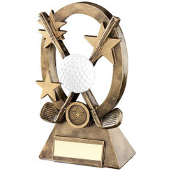 Brz/Gold/White Golf Oval/Stars Series Trophy - (1In Centre) 7.25In