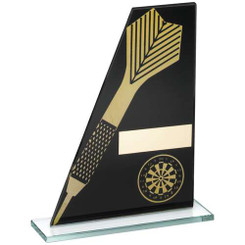 Black/Gold Printed Glass Plaque With Dart/Dartboard Trophy - 7.25In