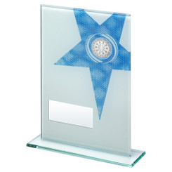 White/Blue Printed Glass Rectangle With Darts Insert Trophy - 6.5In