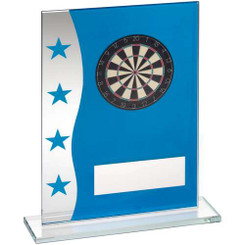 Blue/Silver Printed Glass Plaque With Dartboard Image Trophy - 8In