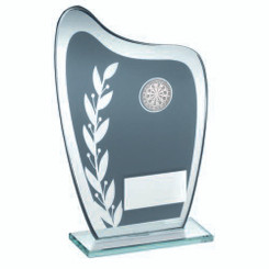 Grey/Silver Glass Plaque With Darts Insert Trophy - 8In