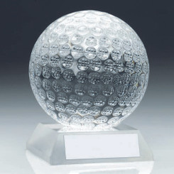 Clear Glass Golf Ball Trophy - 3.75In