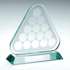 Jade Glass Pool/Snooker Balls In Triangle Trophy - 6.75In